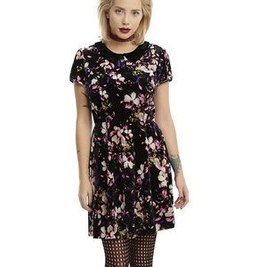 Hot Topic Black Velour Floral Dress NWT